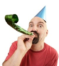 Guy with birthday party hat
