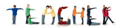 Kids spelling out the word Teacher