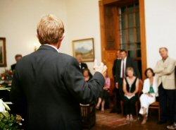 Man making a tribute speech